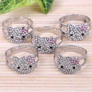 Newly listed 5PC PINK CRYSTAL FLOWER SILVER PLATE CUTE FINGER RING #9
