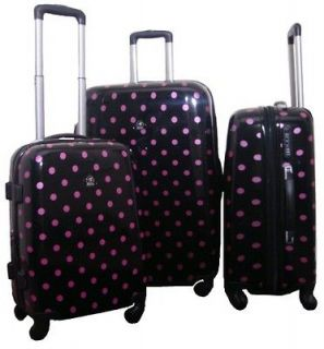 Black & Pink Polka Dot 3 Piece Polycarbonate Luggage Set Free Ship