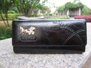 Ladys Button PU Leather Wallet Clutch Card Holder Purse Long Handbag