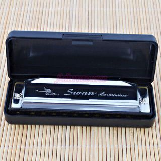 New Swan Harmonica 10 Holes G Key Silver with Case High Quality