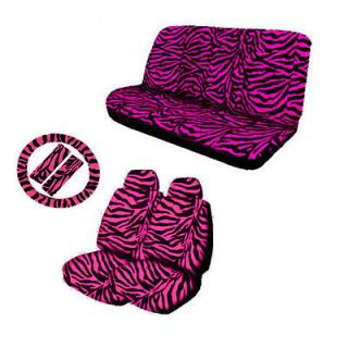 11pc Zebra Hot Pink Animal Print Complete Car Seat Cover Set Free