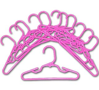 Doll Clothes 12 Hangers Fit 18 American Girl * Plastic Pink 7 inch