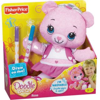 Fisher Price Doodle Bear Rose Pink Teddy Bear W/ Markers and stencil