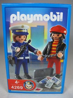 Playmobil Police Lady Figure with Thief Robber Bandit NIB 4269