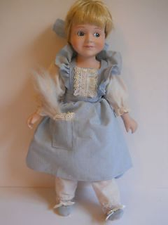 Vintage Marian Yu Porcelain Collectible Maid Doll Blue Dress, Slippers