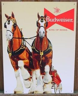 Metal BUDWEISER CLYDESDALE HORSES Tin Ad BEER/BAR Sign