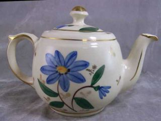 MidCentury Shawnee Pottery USA Blue Floral Gold Teapot