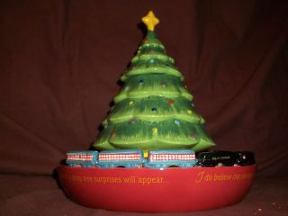 Warner Ceramic Christmas Tree Candy Dish W/ Polar Express Train