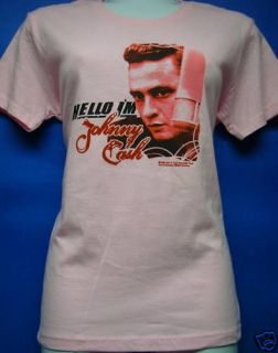 Hello Im Johnny Cash Pink Babydoll Style Girl T Shirt New