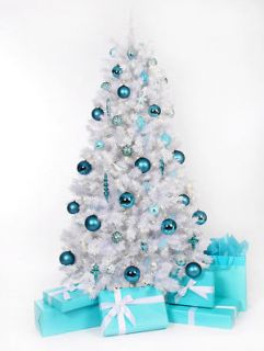 Ft White Pre Lit CLEAR lights Christmas Tree / Stand NEW