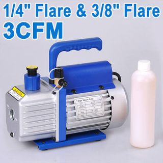 Rotary Vane 3CFM Vacuum Pump 1400PRM Refrigerant HVAC AC Tool Freon