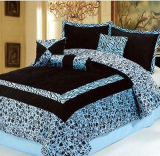 7PC NEW Blue Faux Fur Zebra Animal Print Comforter Set **Queen **