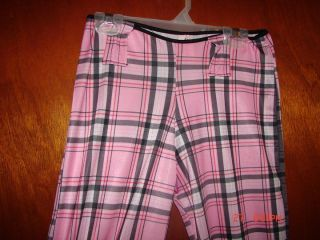 Pink plaid nylon / spandex disco pants. Womans Small ***
