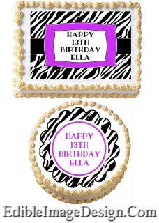 ZEBRA PRINT PURPLE Edible Birthday Cake Party Image Cupcake Topper