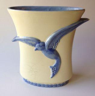 Vtg Abingdon USA Art Pottery Vase Blue Bird Cream White Lovely Flared