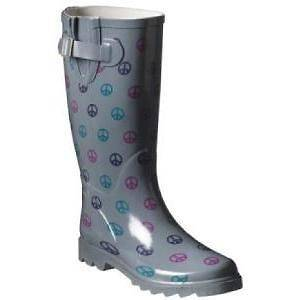 WOMENS CHARCOAL WATERPROOF RAIN BOOTS with PEACE SIGNS