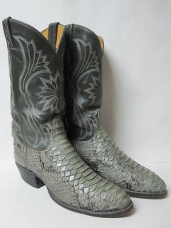 Tony Lama Mens Cowboy Boots Western Rancher Gray Snake Skin Leather 11