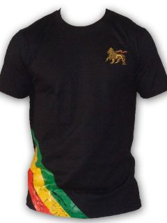 Rasta Reggae T SHIRT Bob Marley Lion Of Judah Embroidered Black UK