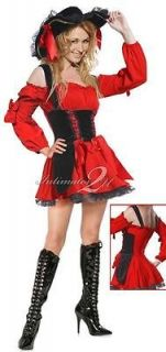 Women Sexy Red Pirates Dress Costume Carnival Outfit with Hat