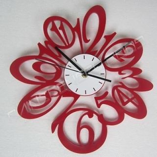 Modern Time Number Wall Clock Clocks Decro Home Room Red Color Gift