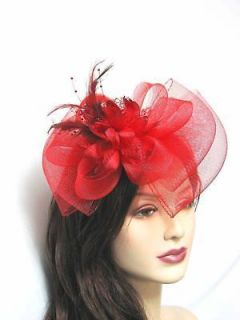 Fascinator Hat Bow Party Hair Clip Great For Weddings, Chruch, Red