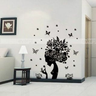 Flower Fairy Girl Removable Wall Sticker Home Decor Decals New