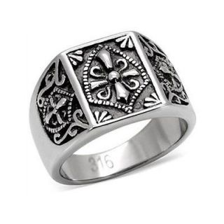 MENS STAINLESS STEEL MASON TEMPLAR KNIGHTS RING SIZE 9 10 11 12 13