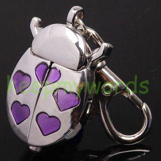 Silver Beetle Purple Heart Key Ring Keychain Clock Pocket Watch & Free
