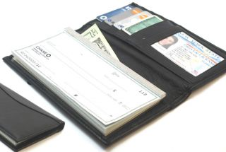 Genuine Leather Checkbook Cover Black Wallet Organizer w/ ID & Credit