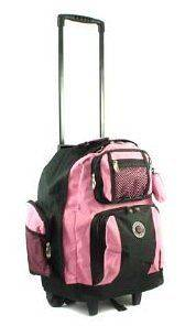 18 PINK Travel Deluxe Rolling Backpack Laptop School Travel Book Bag