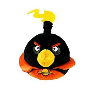 Angry Birds 5 Space Fire Bomb Black Bird Plush Doll Figure New w/ Tag