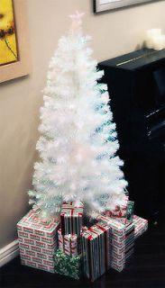 WHITE PRE LIT MULTI COLOR LED FIBER OPTIC CHRISTMAS TREE + Ornaments