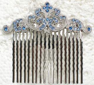 BLUE RHINESTONE CRYSTAL HAIR COMB 4 BRIDAL BRIDESMAID WEDDING PARTY