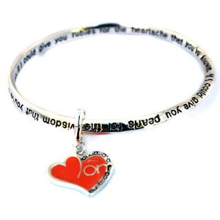 Charm Infinity Silver Bangle w Poem Bracelet Mothers Holiday Gift