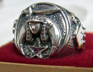 US SIZE 10   SHRINE RING VINTAGE STYLE MASON MASONIC STEEL SHRINER