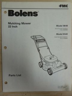 FMC BOLENS LAWN GARDEN EQUIPMENT MULCHING MOWER 22 INCH # 8648 8548