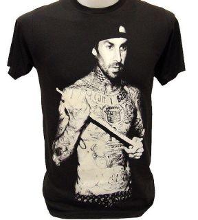 TRAVIS BARKER Drummer Pop Punk Band Blink 182 Retro Rock T Shirt S