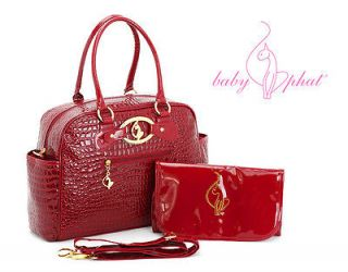 New Baby Phat Faux Leather Diaper Bag Tote Change Pad Rhinestone