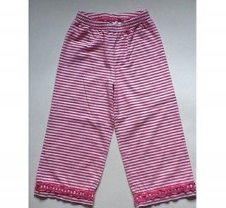 Hanna Andersson Girls Pink And White Striped Pants SZ 110