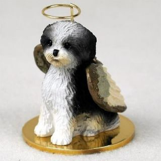 Shih Tzu Dog Figurine Angel Ornament Statue Puppy Black/White
