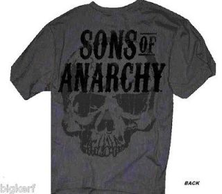 Sons of Anarchy {SAMCRO SKULL} Licensed SOA Gray S/S 2 Sided T