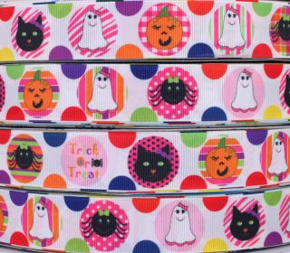 WHOLESALE 125mm HALLOWEEN SPIDER&CAT Printed grosgrain ribbon BOW 5