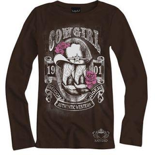 Rhinestone Brown Western Cowgirl Boots Star Roses Long Sleeve M XXL