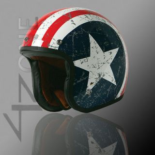 OPEN FACE VINTAGE MOTORCYCLE SCOOTER HELMET BLUE RED WHITE STAR SMALL