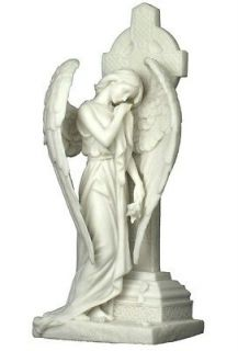 Marble Weeping Angel Leaning on Irish Celtic Cross Figure Statue Decor
