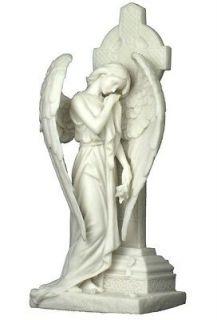 Marble Weeping Angel Leaning on Irish Celtic Cross Figure Statue Decor
