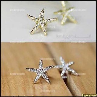 Sweet Lovely Full Rhinestone Silver/Gold Starfish Earrings Ear Stud