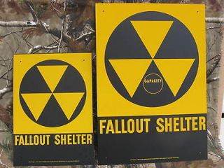 Vintage DOD Fallout Shelter Metal Signs10x14 & 14x20 New Old Stock