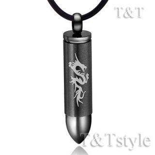 Newly listed T&T BLACK Stainless Steel Dragon SERCET BULLET Pendant