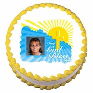 God Bless Cross Photo Image ~ Edible Image Icing Cake Topper ~ LOOK